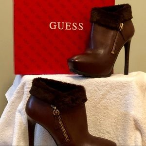 Guess Ivorie Brown Leather Fur Boots